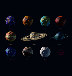 Set of polygonal planets vector