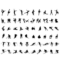 set of silhouettes of winter sports vector image