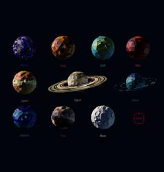Set polygonal planets vector