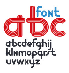 Set rounded lower case funky alphabet letters vector