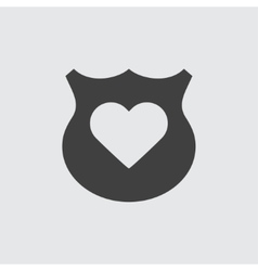 Shield with heart sign icon vector image