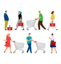 Shopping people man with shopping cart and woman vector