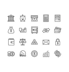 simple set money and bank thin line icons vector image