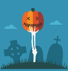 skeleton hand with halloween pumpkin at graveyard vector image