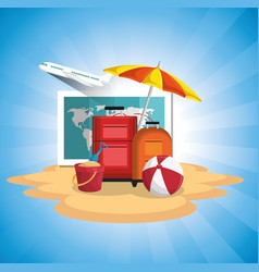 summer vacattions set icons vector image