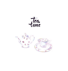 tea time cup and kettle black tea vector image