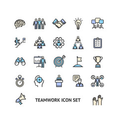 teamwork sign color thin line icon set vector image