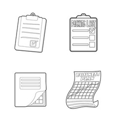 to do list icon set outline style vector image