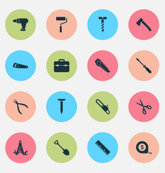 Tools icons set collection of screw vector