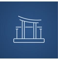 Torii gate line icon vector image