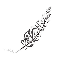 Tribal feather fountain pen in black and white il vector