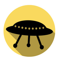 Ufo simple sign flat black icon with flat vector