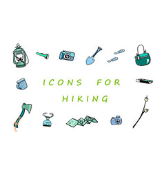 Useful things for hiking and traveling set of vector