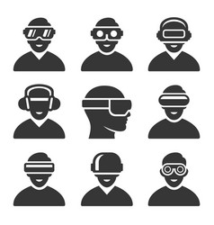 virtual reality vr headset icons set vector image
