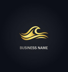 wave ocean water gold logo vector image