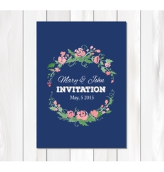 wedding invitation with watercolor flowers vector image