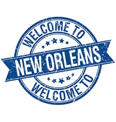 welcome to New Orleans blue round ribbon stamp vector image