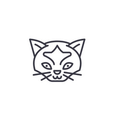 wild cat head line icon sign vector image