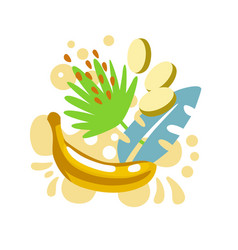 yellow banana on abstract sunny summer background vector image