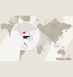 zoom on thailand and flag world map vector image