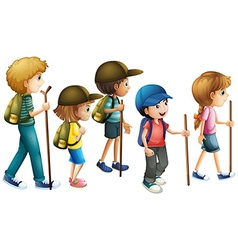 Boys and girls with hiking outfit vector image vector image