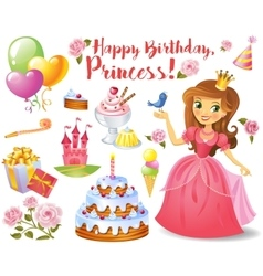 Cute birthday design elements vector image vector image