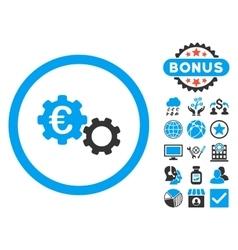 Euro Mechanics Flat Icon with Bonus vector image