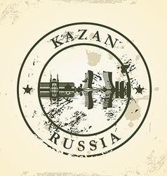 Grunge rubber stamp with Kazan Russia vector image