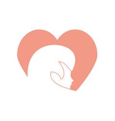 Profile woman heart romantic image vector