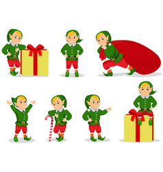 set of cartoon christmas elves vector image