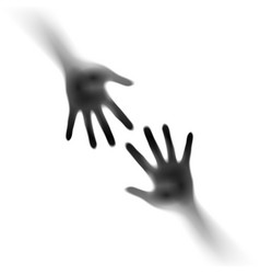 two open hands in the mist on white of designer vector image vector image
