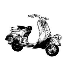 vintage motor scooter hand vector image