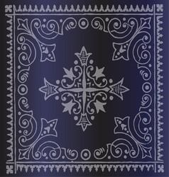 Beautiful Vintage Floral Dark Blue Background vector image vector image