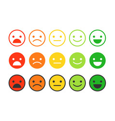 colored flat icons of emoticonsdifferent emotions vector image