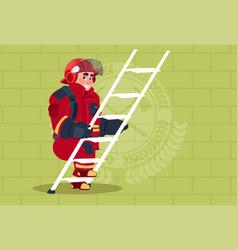 fireman climb ladder up in uniform and helmet vector image vector image