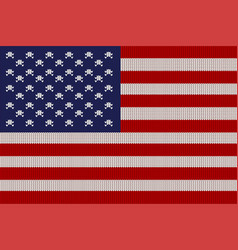 flag of the united states on knitted texture vector image vector image