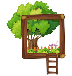 frame design with tree and ladder vector image vector image