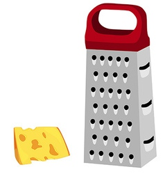 Grater with red handle and cheese vector image vector image
