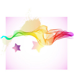 Abstract colorful wave with stars vector image