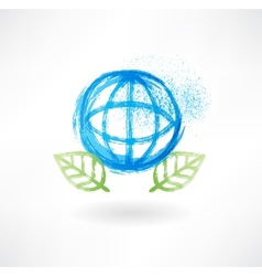 Globe and leafs grunge icon vector image vector image