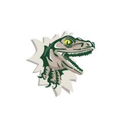 Raptor Head Breaking Out Wall Retro vector image vector image