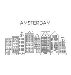amsterdam houses city panorama dutch street vector image