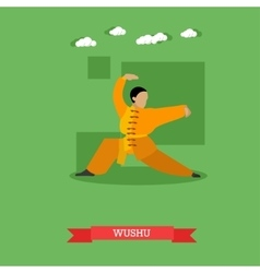 Wushu fighter shows his skills flat design vector image vector image