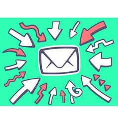 arrows point to icon of envelope on green vector image