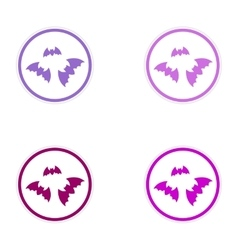 assembly sticker full moon and bats on a white vector image