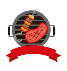 barbecue grill meat and kebab banner vector image