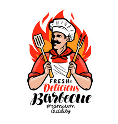Barbecue logo or label cook or happy cook holding vector