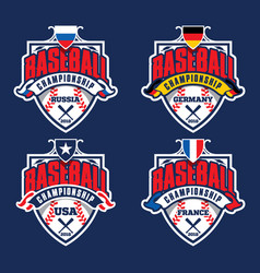 baseball championship badge logotypes vector image