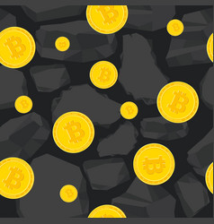 Bitcoin mining seamless pattern vector