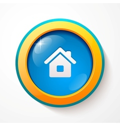 Blue glass home button vector